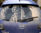 Can You Imagine Art on Dusty Car`s Windows