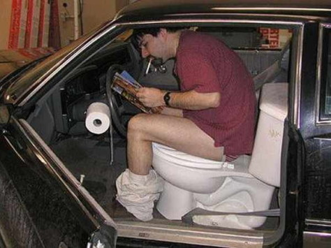 Car seat turned into a toilet seat