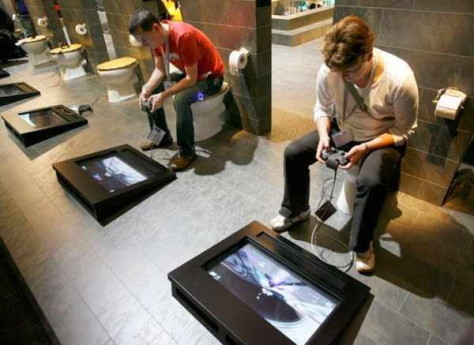 Gaming area with toilet seats