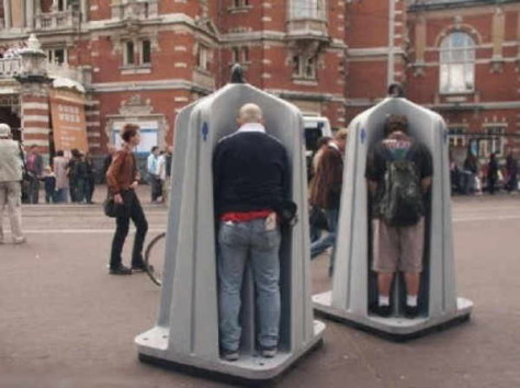Public place urinals, open to sky