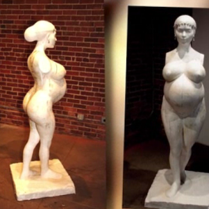 A Unusual Art of Pregnant Kim Kardashian Statue With No Arms