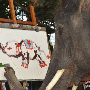 Awesome Impressionist Elephant Paint With Flower…SAVE ANIMALS