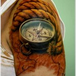 Get Awesome Compass Tattoo Designs