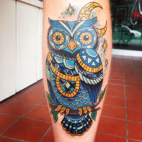 Owl mosaic on my right calf. Tattoo done by Jessie Beans at Five Fathoms in Vernon B.C., Canada.