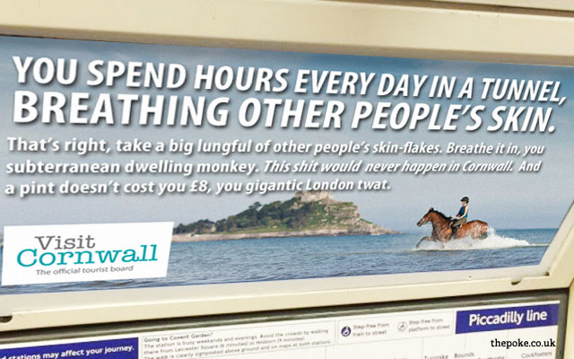 Adverts on the London Underground are becoming more and more aggressive