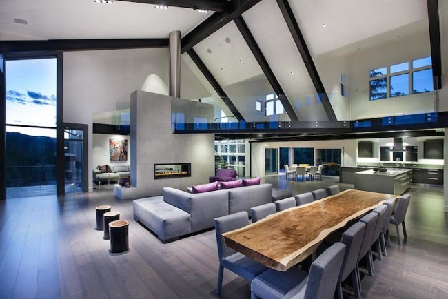 Contemporary Living room with slanted ceiling and huge loft [700x467]