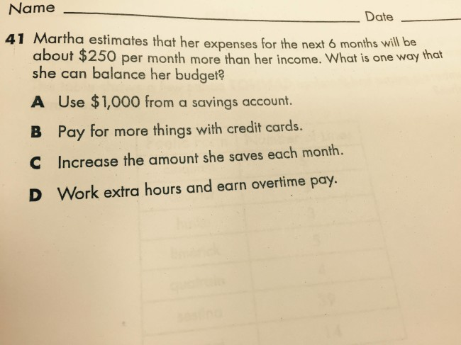 Encountered the saddest question ever in a 5th grade math test today.... Pearson's viable options for the working poor.