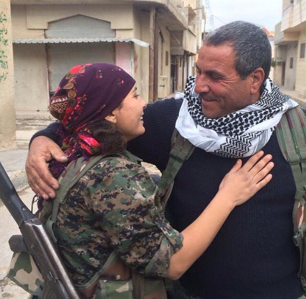 Father (YPG fighter) and daughter (YPJ fighter) reunited after months
