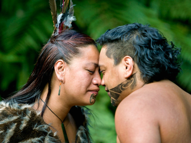 Maoris say hello by pressing their noses together in a greeting called hongi