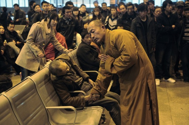 Monk stays with man who passed away