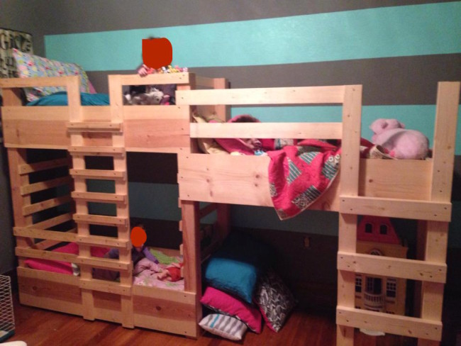 My best friend's husband made bunk beds for their three kids