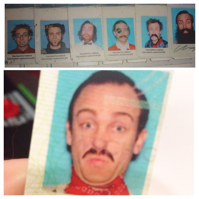My buddy's commitment to his drivers license photos...
