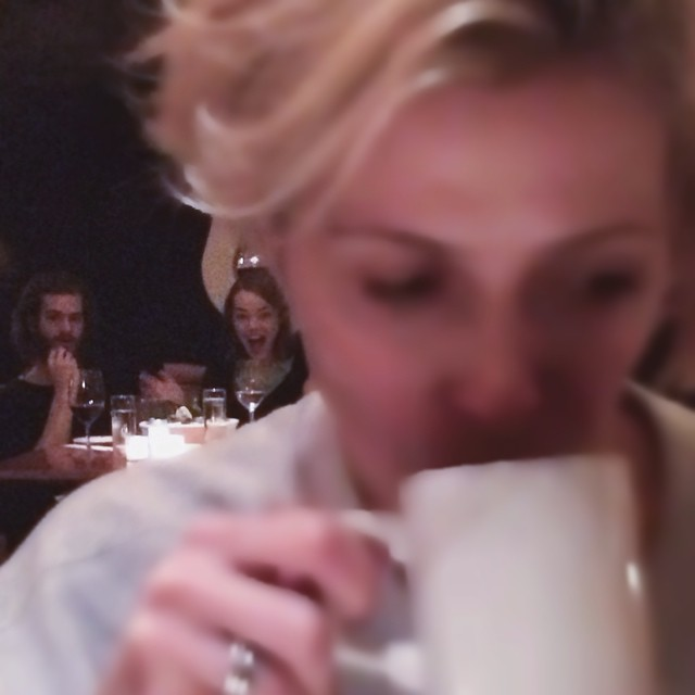 My friend tried to secretly snap a pic Emma Stone and Andrew Garfield eating dinner