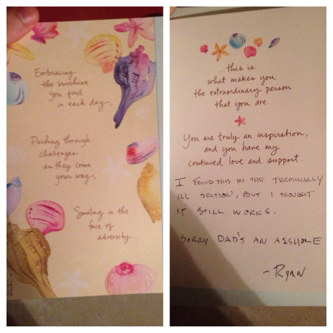 My mom found out my dad has been cheating and since they don't exactly make cards for this occasion I had to improvise.