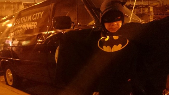 They're filming the show Gotham on my block tonight so my stepson went out for a little adventure