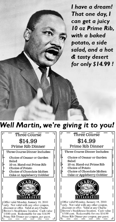 This steakhouse ad on MLK day.