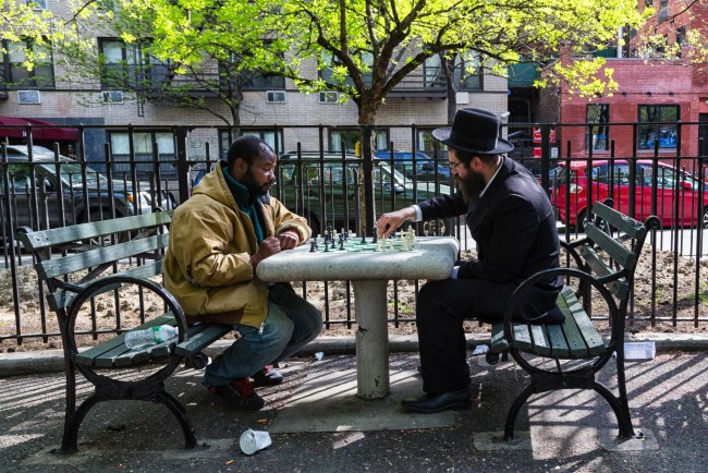 Two men playing chess in New York City