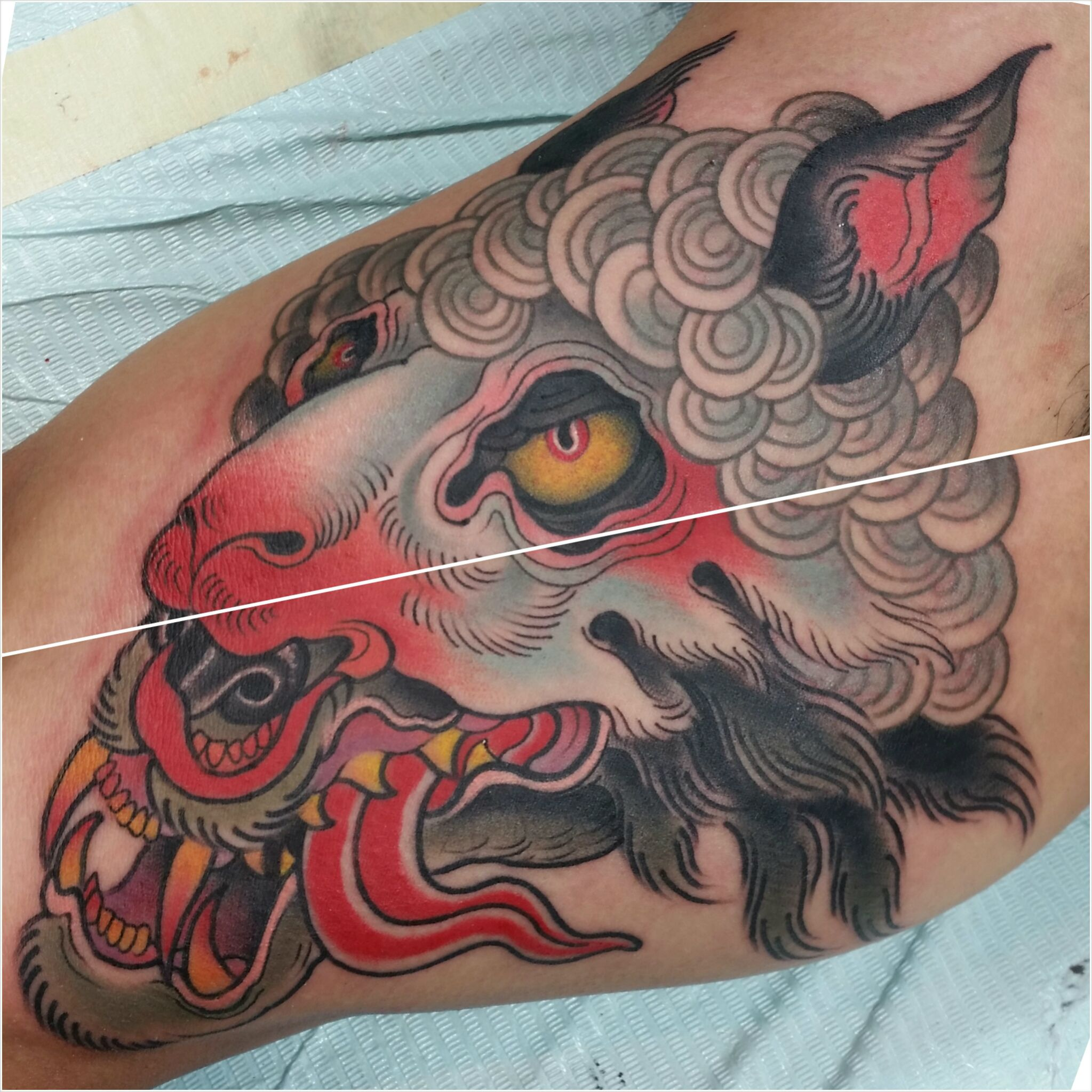 wolf in sheeps clothing 39 inner arm by chong tramontana full circle tattoo san diego. Black Bedroom Furniture Sets. Home Design Ideas