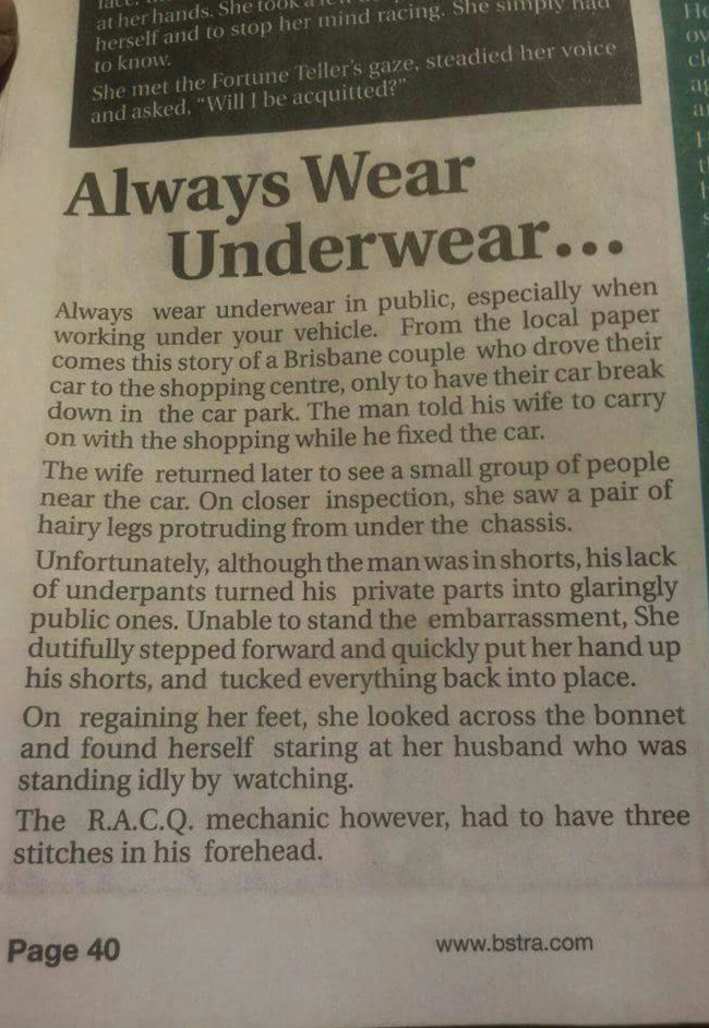 Always wear underwear