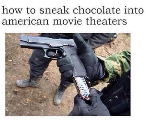 How to sneak chocolate into American movie theaters.