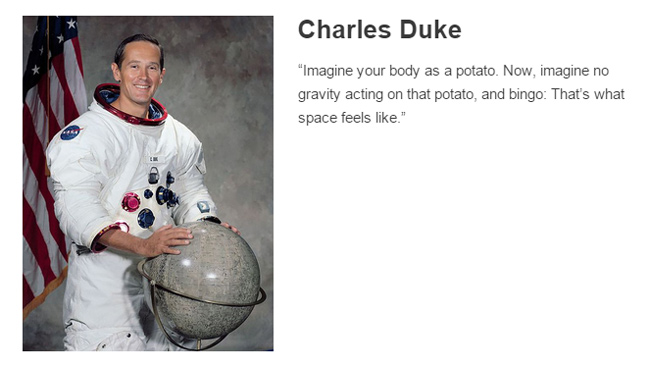 Charles Duke describes space