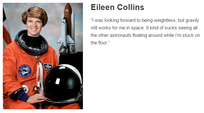 Eileen Collins describes space