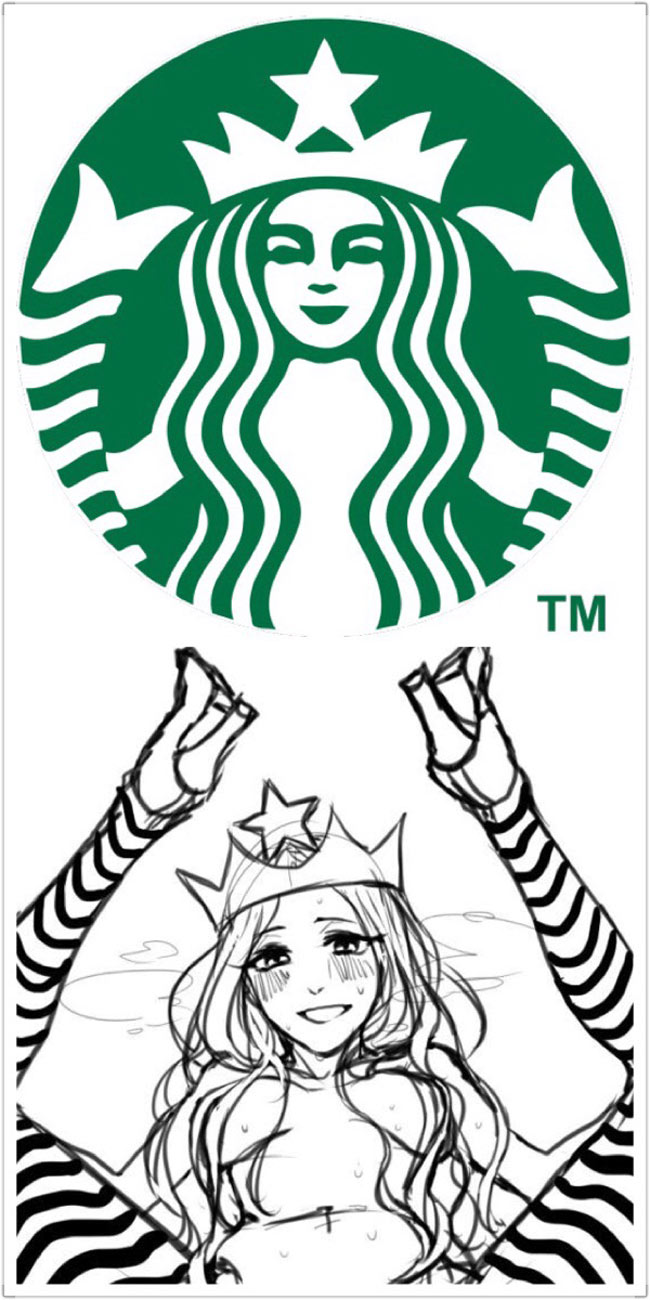 Starbucks logo and the first draft.