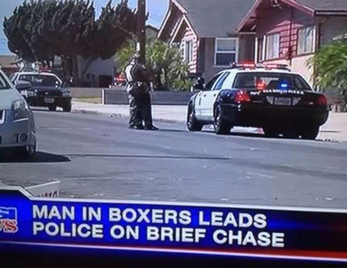 Man in boxers brief chase