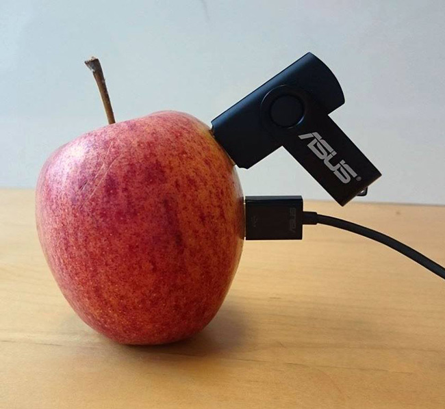 Apple that could easily fit 2 USB-devices.
