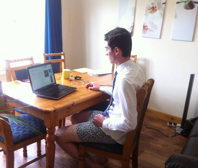 My Brother is prepared for his Skype interview