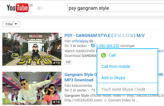 Psy gangnamstyle has reached a viewer count so large Skype recognizes it as a phone number.