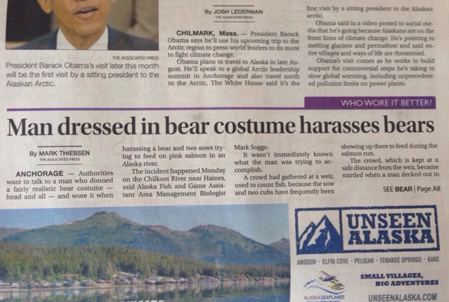 This is what news headlines look like when you live in Alaska.