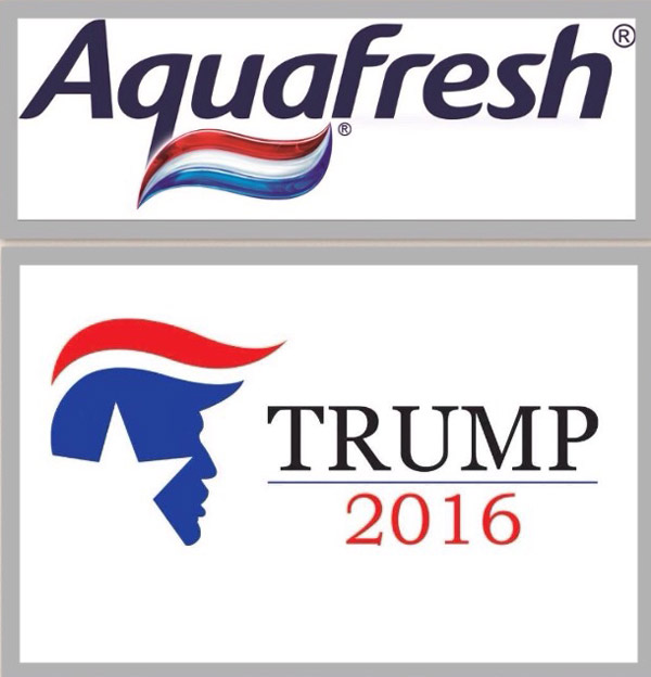I can't be the only one who sees the aquafresh logo on top of trumps head....