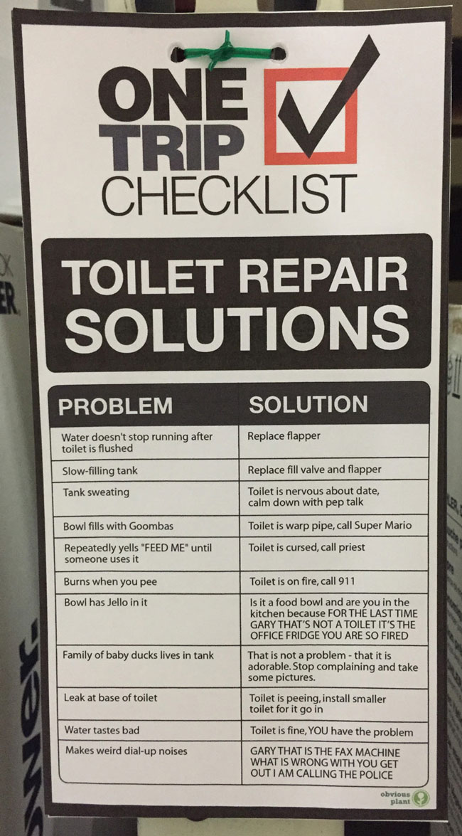 I updated Home Depot's in-store Toilet Repair Solutions guide