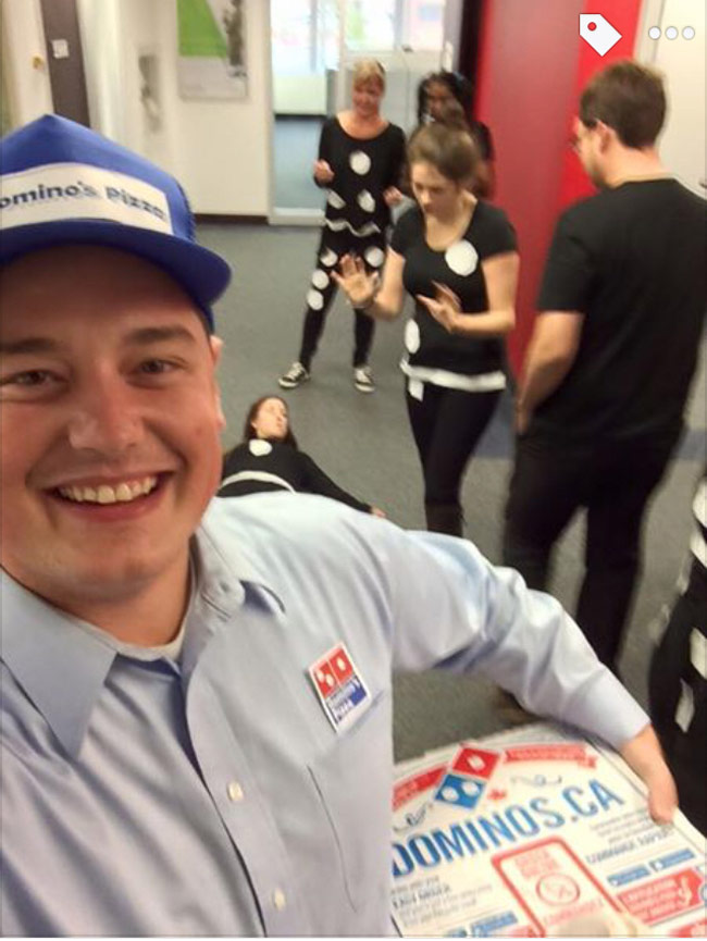 My friend was invited to a Domino's themed work party...