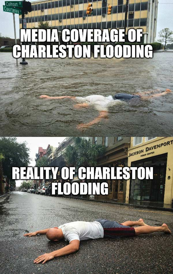 My roommate's mom was worried about the flooding down here in Charleston. This is what he sent her...