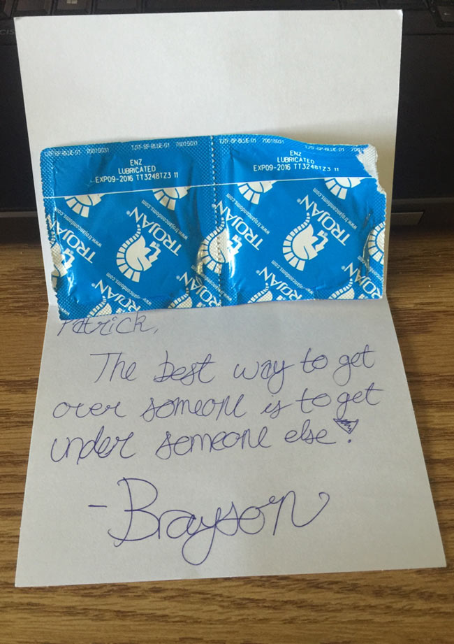 When my best friend found out that my girlfriend and I broke up, I get this in the mail