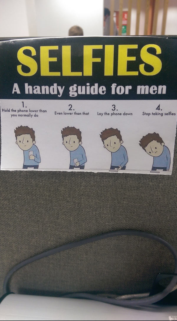 This handy guide hangs on one of my colleagues desk