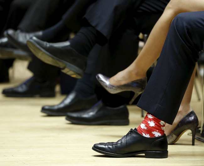 Canada's Prime Minister Justin Trudeau and his socks