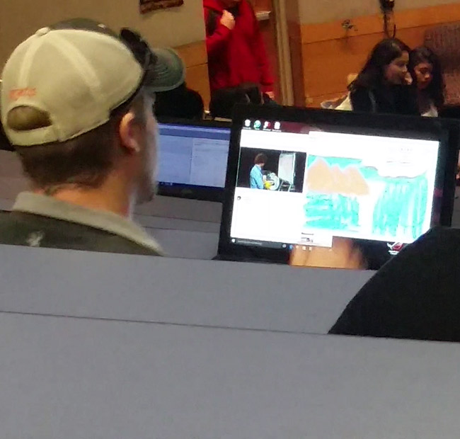 This guy in my political science class was watching a Bob Ross video and following along in MS Paint
