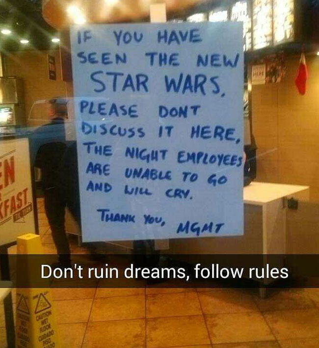 Local Taco Bell Prohibits talking about STAR WARS