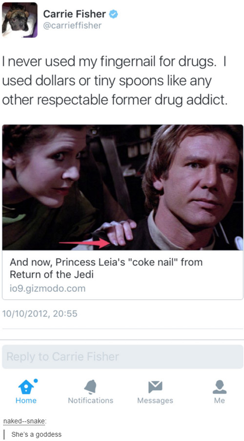 Carrie Fisher, respectable drug addict