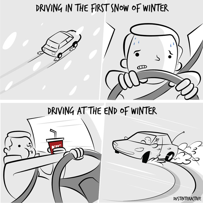 Driving in the first snow vs. last snow of winter