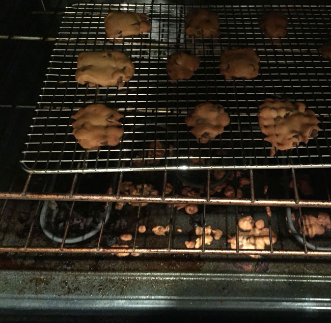My hubby tried to bake cookies tonight... On a cooling rack :/