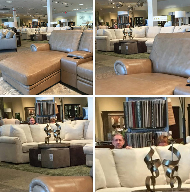 Mom went couch shopping. She sent my sister a pic when we noticed something...