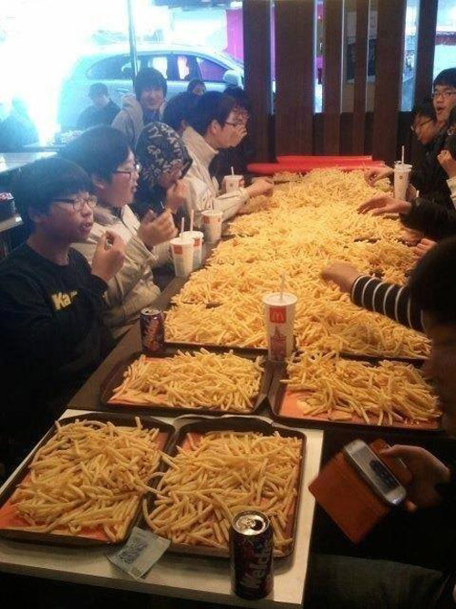 Give me all of your french fries. It's for our club meeting