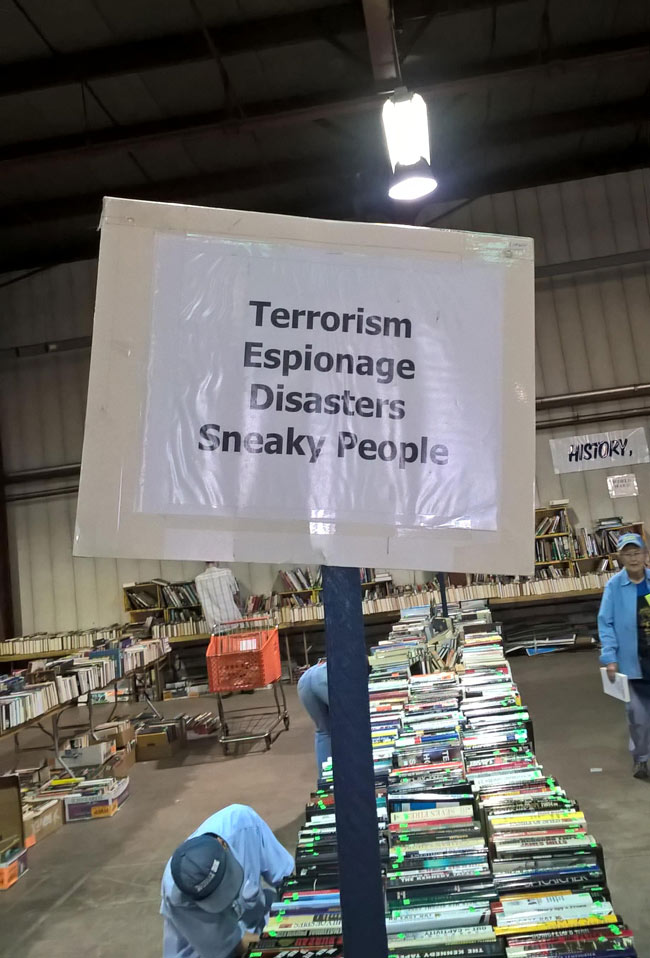 "Went to a book sale today. I think the word they were looking for was ""Spies"""