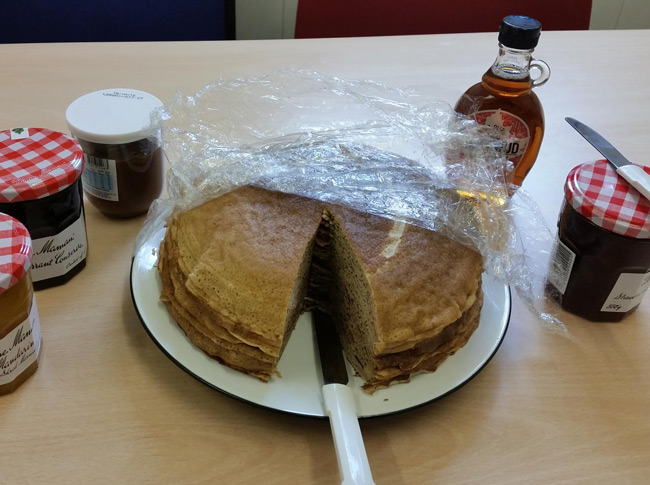 A French colleague made crepes today. English people are barbarians...