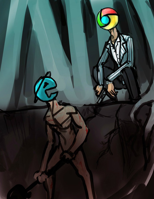 Downloading google chrome using Internet explorer is like making someone dig their own grave