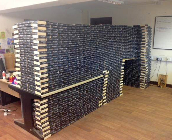 A charity shop with so many copies of 50 Shades of Grey they built a fort out of them